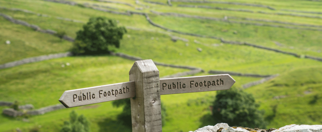 Footpath sign above Malham