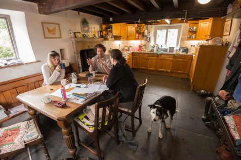 Harriet Fraser interviewing Leigh and Neil in their kitchen at Hill Top Farm