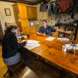 Harriet Fraser interviewing Garry Schofield in his kitchen.