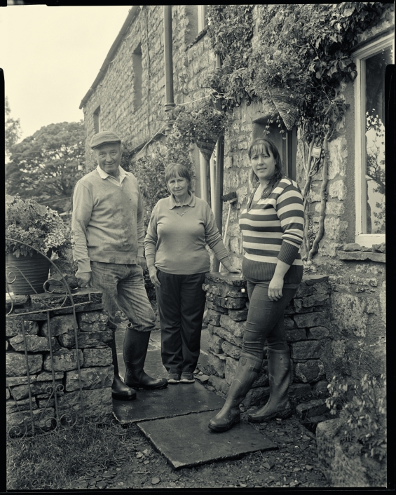 Carole Moffat at Thwaite Farm with her parents, Brian and Anita Horner
