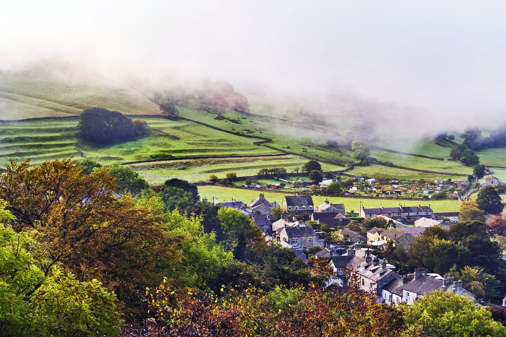 Autumn mist over Settle