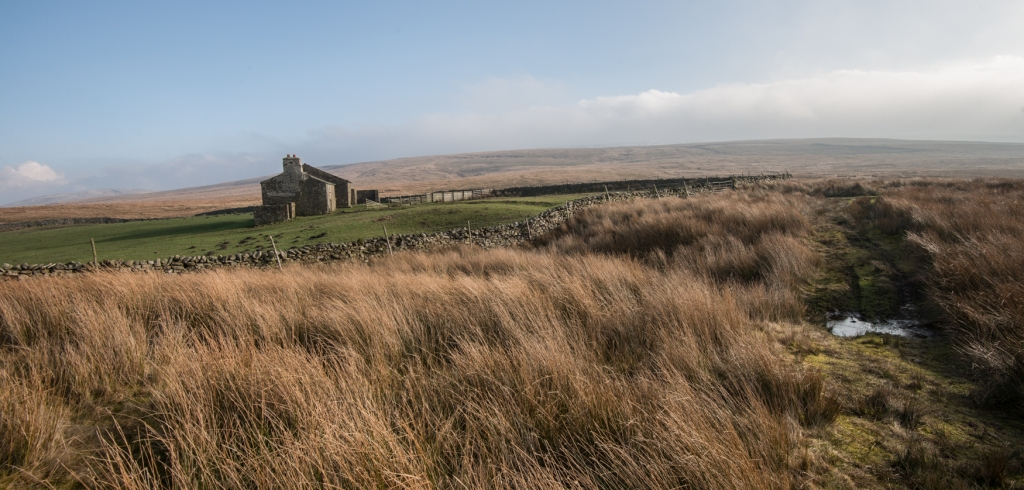 Abandoned farm house called White Green on the edge of the moors at Uldale