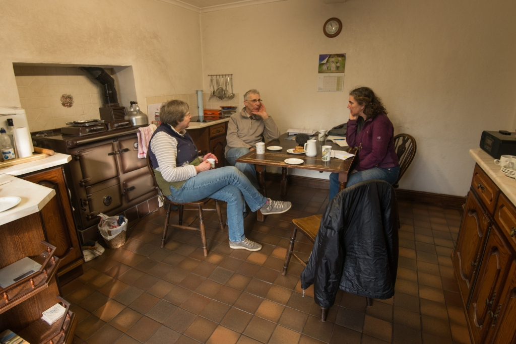 Harriet interviewing Harry and Mary Hutchinson in their farmhouse kitchen at Uldale.