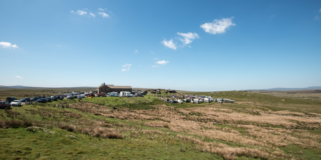 View of the show ground and the famous Tan Hill pub, Englands highest hostelry.
