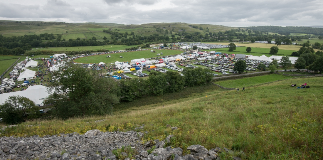 Looking down onto Kilnsey show from the side of Kilnsey Crag