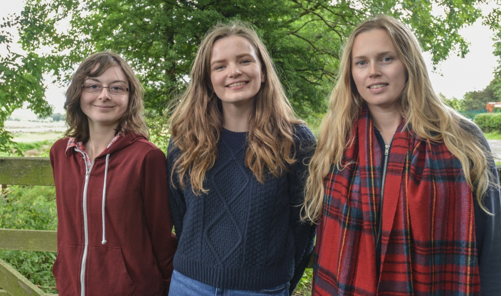 Leeds University who took part in the project. From left Emily, Holly and Lauren.