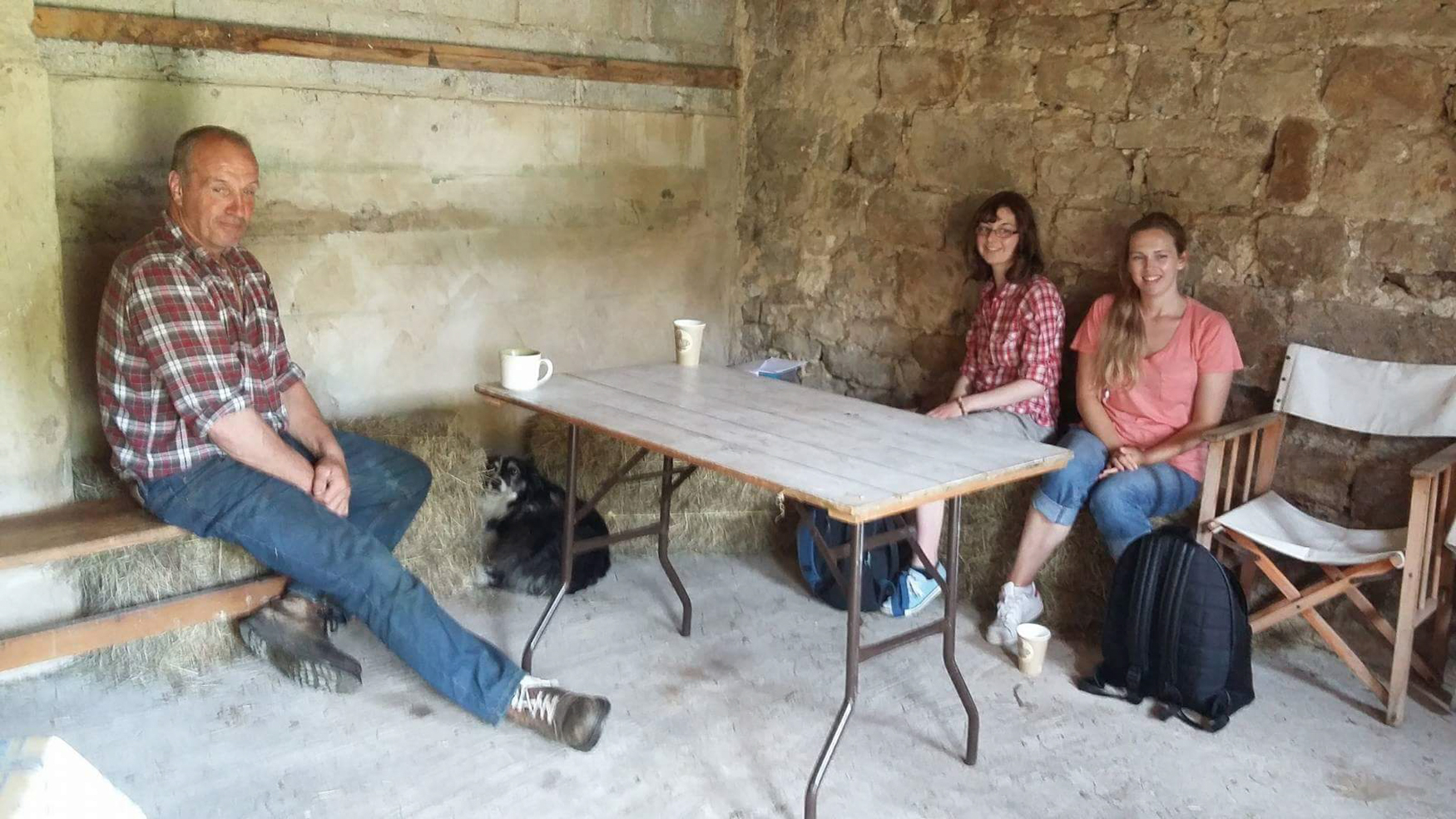 interviewing farmer Stuart Hird at Yockenthwaite